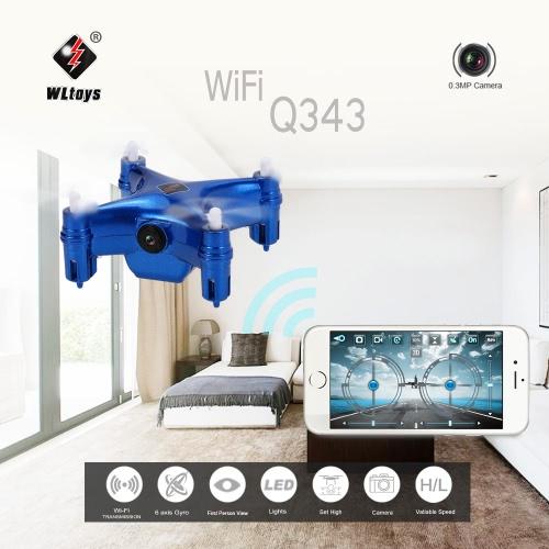 Buy Original WLtoys Q343 WiFi FPV Mini RC Quadcopter 0.3MP Camera Barometer Set Height Drone Controlled Smartphone