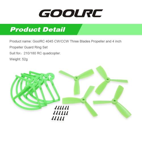Buy GoolRC 4045 CW/CCW Three Blades Propeller 4 inch Guard Ring Set 210/180 Racing Drone