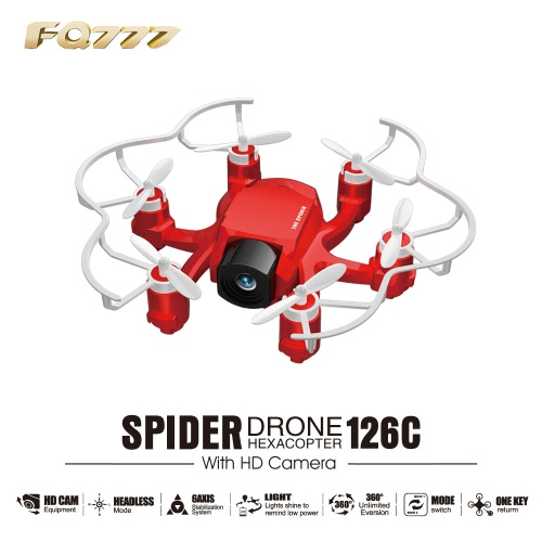 FQ777 126C 2MP Camera Spider Mini RC Hexacopter RTFRC Quadcopter<br>FQ777 126C 2MP Camera Spider Mini RC Hexacopter RTF<br><br>Blade Length: 19.0cm
