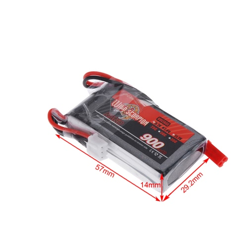 Wild Scorpion 7.4V 900mAh 25C MAX 35C 2S JST Plug Li-po Battery for RC Car Airplane Blade CX Helicopter Part от Tomtop.com INT