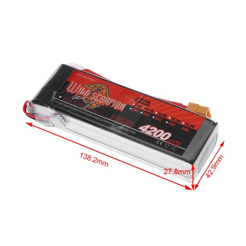 Wild Scorpion 11.1V 4200mAh 60C MAX 70C 3S XT60 Plug Li-po Battery for RC Car Airplane Helicopter PartWildScorpion Series<br>Wild Scorpion 11.1V 4200mAh 60C MAX 70C 3S XT60 Plug Li-po Battery for RC Car Airplane Helicopter Part<br><br>Blade Length: 16.0cm