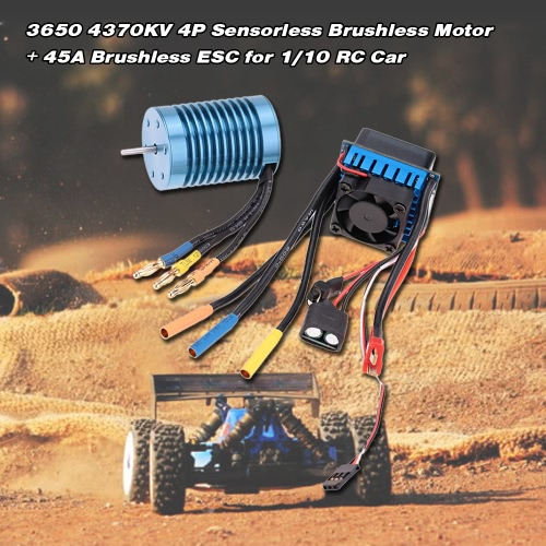 Buy 3650 4370KV 4P Sensorless Brushless Motor 45A ESCuff08Electric Speed Controlleruff09for 1/10 RC Off-Road Car