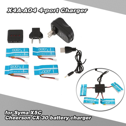 Super Fly 4-port Fast Charger Sets with 3.7V 600mAh Lipo Battery for RC Helicopter / Quadcopter Syma X5 X5C X5A X5SC X5SW Cheerson CX-30 CX-30W CX-30S JJRC H5C H9D WLtoys V931 F949Syma Multicopter Parts<br>Super Fly 4-port Fast Charger Sets with 3.7V 600mAh Lipo Battery for RC Helicopter / Quadcopter Syma X5 X5C X5A X5SC X5SW Cheerson CX-30 CX-30W CX-30S JJRC H5C H9D WLtoys V931 F949<br><br>Blade Length: 14.5cm