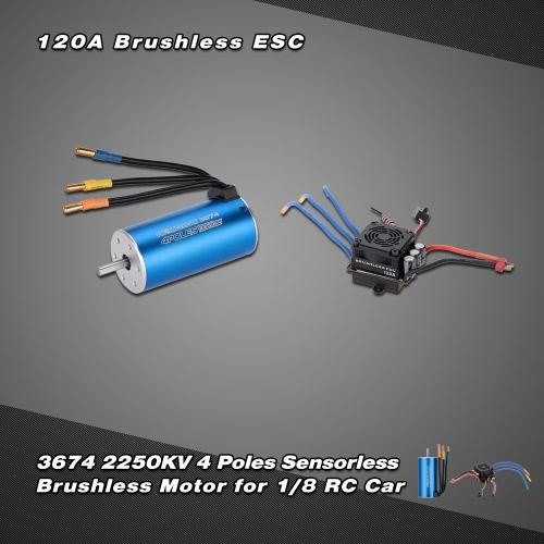 Buy 3674 2250KV 4P Sensorless Brushless Motor & 120A Splash-Proof Electronic Speed Controller ESC 5.7V/8A Switch Mode BEC 1/8 RC Car
