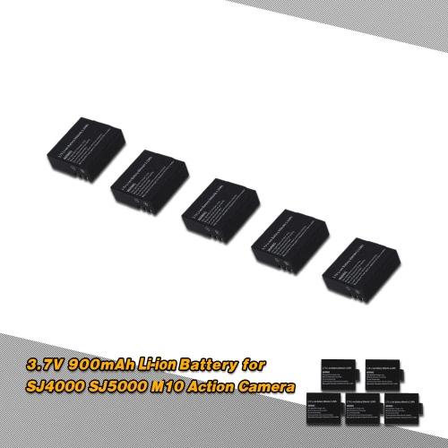 5Pcs 3.7V 900mAh Li-ion Battery Replacement Battery for SJ4000 SJ5000 M10 RC FPV Action Camera