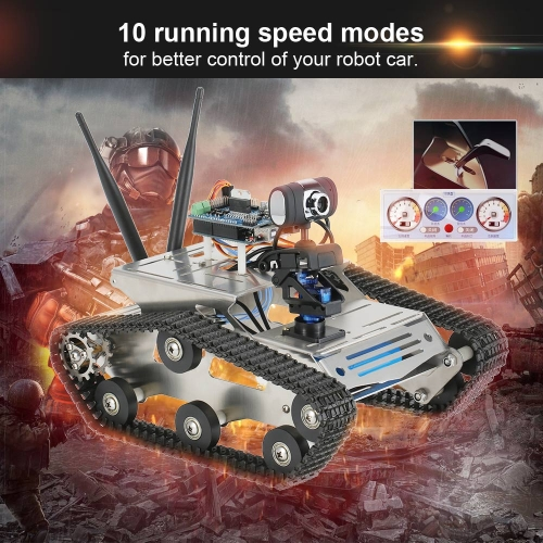 Buy Smart Wifi DIY Crawler RC Robot Tank 1.3MP HD Camera Support PC Mobile Phone Control Monitoring