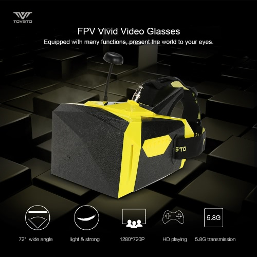 Original TOVSTO Vivid Head Mounted FPV Video Glasses with built-in 32CH 5.8GHz Wireless Video Receiver 72�� View Angle High Resolution Screen