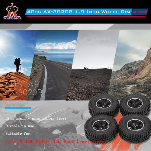4Pcs AUSTAR AX-3020A 1.9 Inch 103mm 1/10 Scale Tires with Wheel Rim for 1/10 D90 SCX10 CC01 RC Rock Crawler 3204