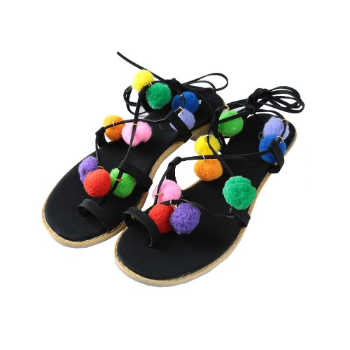 Buy Fashion Women Flat Sandals Colorful Bobble Pompon Lace Strappy Clip Toe Casual Summer Beach Shoes Black/Brown