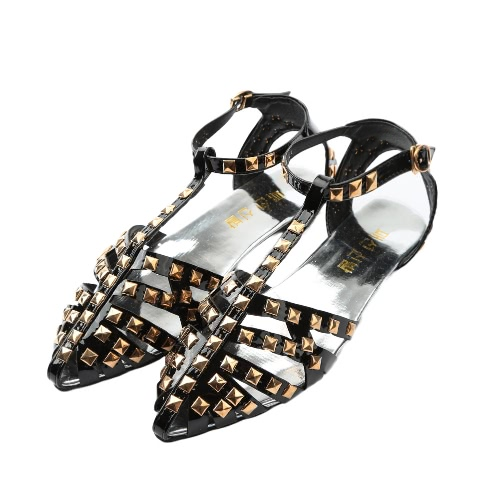 Buy Fashion Women Flat Sandals Solid Color Hollow Rivet Casual Summer Beach Pointed Shoes Black/Silver/Red