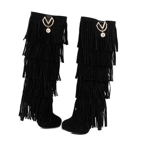 New Fashion Women Knee High Boots Fringe