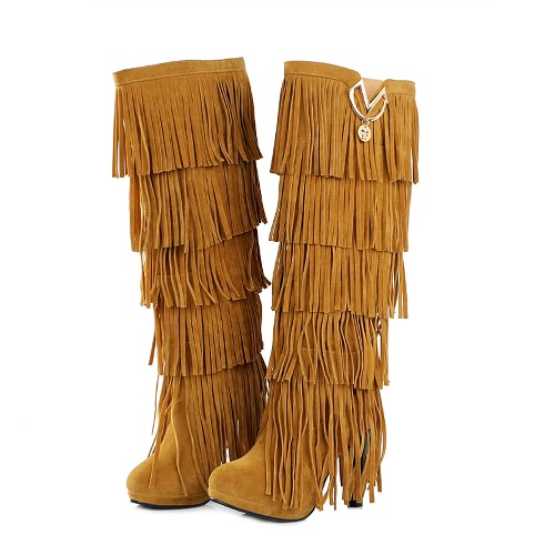 New Fashion Women Knee High Boots Fringe