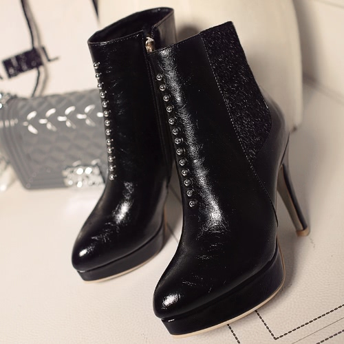 Buy Fashion Women High Heels Ankle Boots Pu Leather Pointed Toe Rivet Faux Fur Platform Booties Shoes