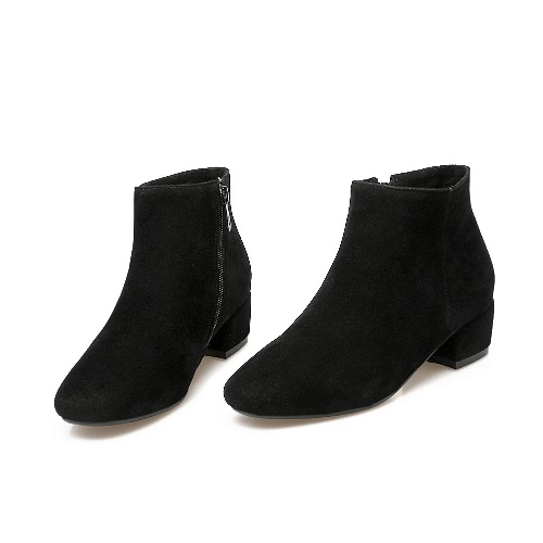 Buy Women Ankle Boots Nubuck PU Leather Side Zip Round Toe Low Heel Casual Shoes Black/Grey/Khaki