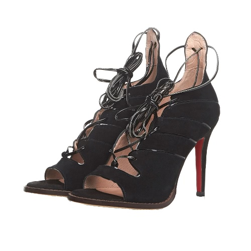 Buy Fashion Women High Heels Leather Open Toe Strappy Lace Ankle Wrap Sexy Stiletto Pump Sandals Shoes Green/Black