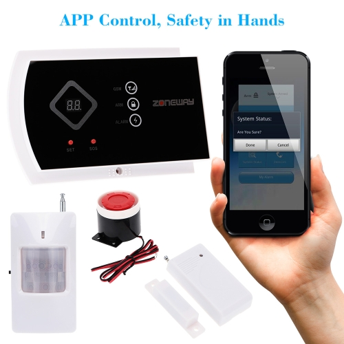 ZONEWAY ANDROID IOS APP Controlled Wireless GSM SMS Autodial Home Alarm Security SystemAlarms Secuity &amp; Padlock<br>ZONEWAY ANDROID IOS APP Controlled Wireless GSM SMS Autodial Home Alarm Security System<br><br>Blade Length: 35.0cm