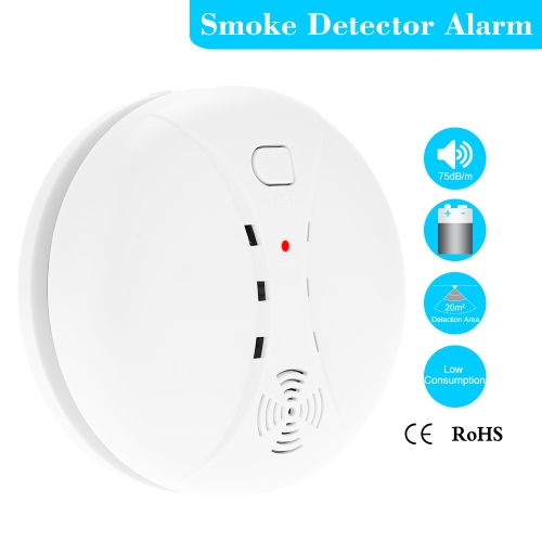 Wireless Photoelectric Smoke Detector High Sensitive Stable Fire Alarm Sensor Monitor for Home Security S491