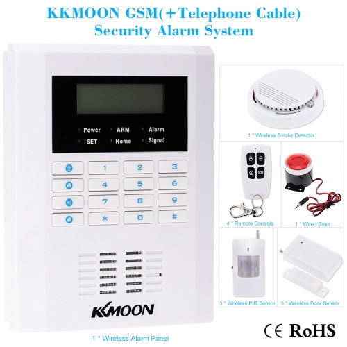 KKMOON Wireless 433MHZ GSM PSTN SMS Home Burglar Security Alarm System Detector Sensor Kit Remote Control