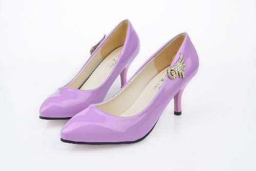 Fashion Women PU Heels Candy Color Low Cut Vamp Pointed Thin Shoes Purple
