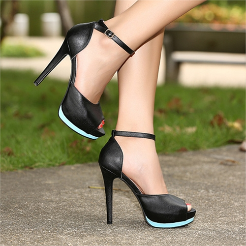 Buy Fashion Women High Heels Ankle Strap Peep Toe Platform Sole Shoes Stilettos Pumps Black