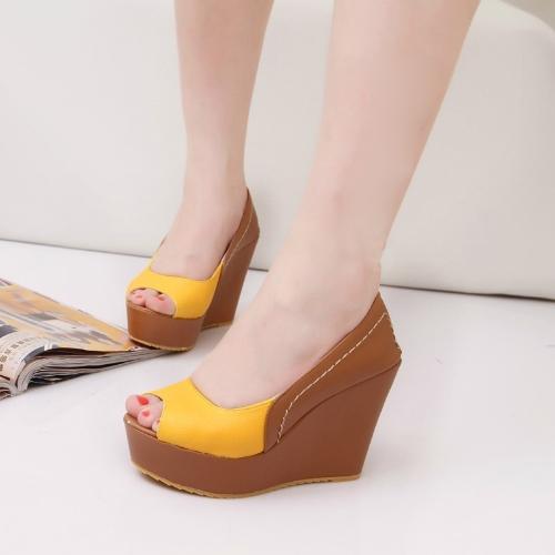 Fashion Women Wedges PU Leather Peep Toe Low Vamp Color Block Heels Shoes YellowFashion Women Wedges PU Leather Peep Toe Low Vamp Color Block Heels Shoes Yellow<br><br>Blade Length: 45.0cm