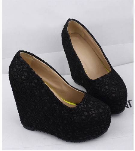 New Sexy Women Wedges Glittering Lace Platform Sole Heeled Shoes Pumps Black &amp; Closed ToeNew Sexy Women Wedges Glittering Lace Platform Sole Heeled Shoes Pumps Black &amp; Closed Toe<br><br>Blade Length: 45.0cm