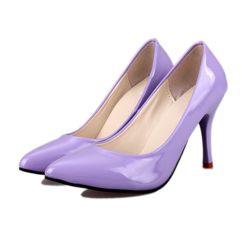 New Fashion Women Pumps Patent Leather Candy Color Pointed Toe High Heels Simple ShoesNew Fashion Women Pumps Patent Leather Candy Color Pointed Toe High Heels Simple Shoes<br><br>Blade Length: 25.0cm