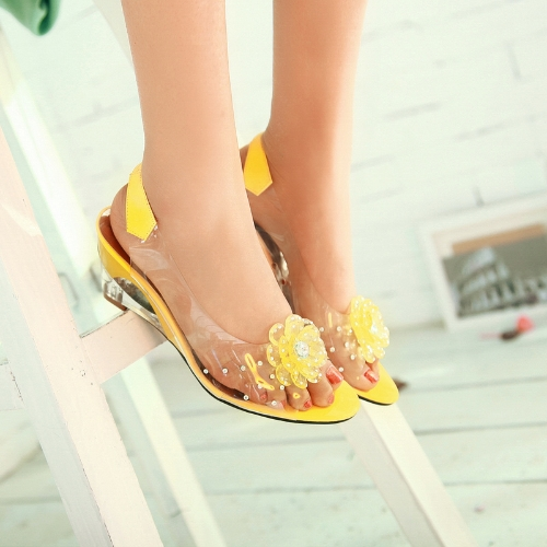 Mode Transparent sandales Wedge talon Peep Toe Fleur Strass pompes Chaussures femmes