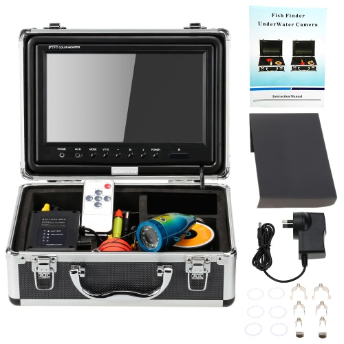 KKMOON HD 1200TVL Underwater Fish Finder Kit with 9¡± LCD Monitor + 15M Camera + 4000mah Battery Box + Removable Sun-shield + Portable Alloy Case + Remote Control support Waterproof Night View Battery Level Indication Adjustable LED Intensity Plug and Pl