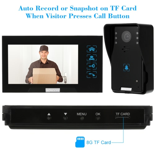 """KKmoon® 7"""" Wired Video Door Phone System Record/Snapshot Visual Intercom Doorbell with 2*800x480 Indoor Monitor + 1*1000TVL HD Outdoor Camera + 2*8G TF Card support Touch Button Unlock Infrared Night View Rainproof Lock Time Delay Adjustable Angles for Door Entry Access Control SystemDoor Access&amp;Doorbell<br>KKmoon® 7"""" Wired Video Door Phone System Record/Snapshot Visual Intercom Doorbell with 2*800x480 Indoor Monitor + 1*1000TVL HD Outdoor Camera + 2*8G TF Card support Touch Button Unlock Infrared Night View Rainproof Lock Time Delay Adjustable Angles for Door Entry Access Control System<br><br>Blade Length: 26.0cm"""