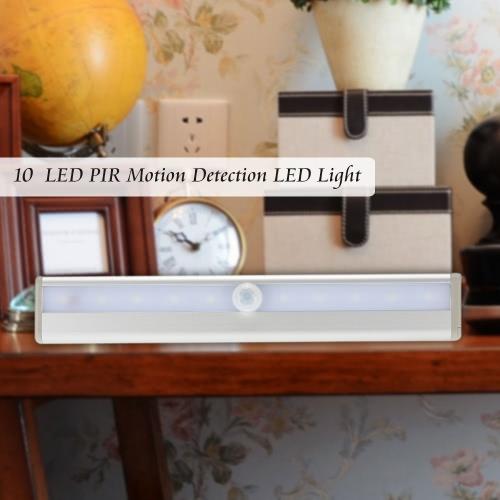 KKmoon  10 LED Auto PIR Human Motion Induction Detector Light Bar Wireless Cabinet Wardrobe Closet Sensor Wall Night Lamp White Light