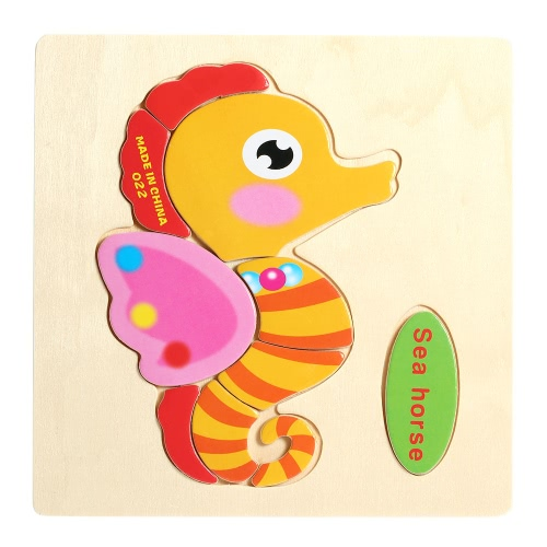 Sea Horse Shaped Puzzle Wooden Blocks Cartoon Toy for Children Baby Kids Intelligence Educational Toy T290