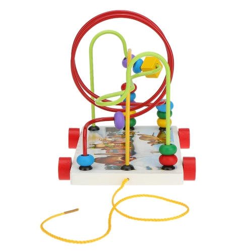 Colorful Wooden Trailer around Beads Maze Educational