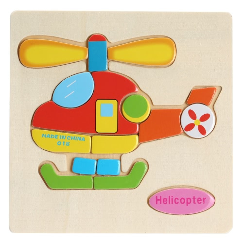 Helicopter Shaped Puzzle Wooden Blocks Cartoon Toy