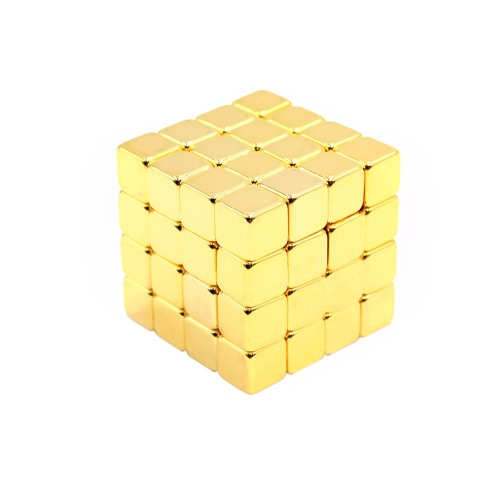 5 mm 64 Pieces NdFeB Magnets Magnetic Cube Magic Puzzle Educational Toy Gold T226
