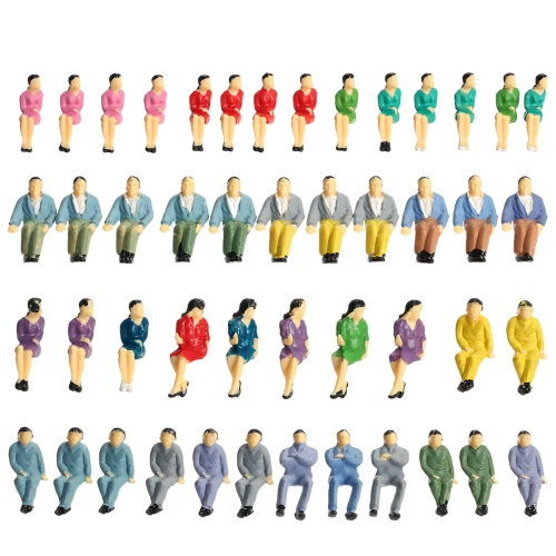 50 Pieces Painted Figures Train Passengers Model All Seated People Building Layout 1:50 Scale