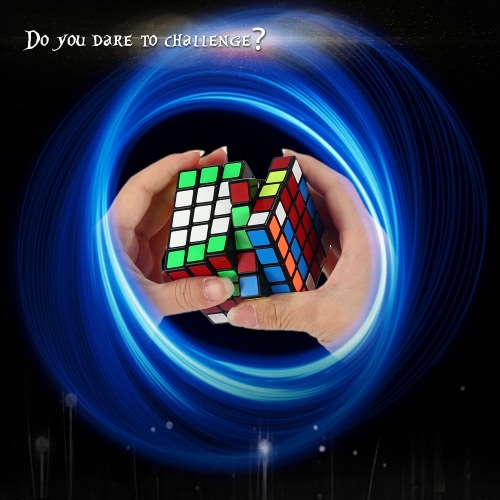 Original Shengshou 5 * 5 * 5 Magic Cube Speed Cube ABS Ultra-smooth Cubo Puzzle PVC Sticker Twist Educational Toy   Black Ground T260B