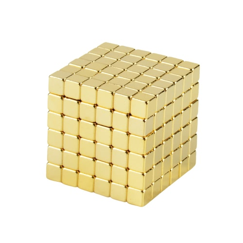 Strong 5 mm Neodymium Magnets Magnetic Cube Squares Magic Puzzle Educational Toy DIY 216 Pieces Gold