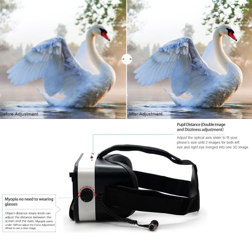M6 VR Virtual Reality Glasses 3D VR Box Headset 3D Movie Game with Headphone Universal for Android iOS Smart Phones within 4.5 to 6.0 Inches