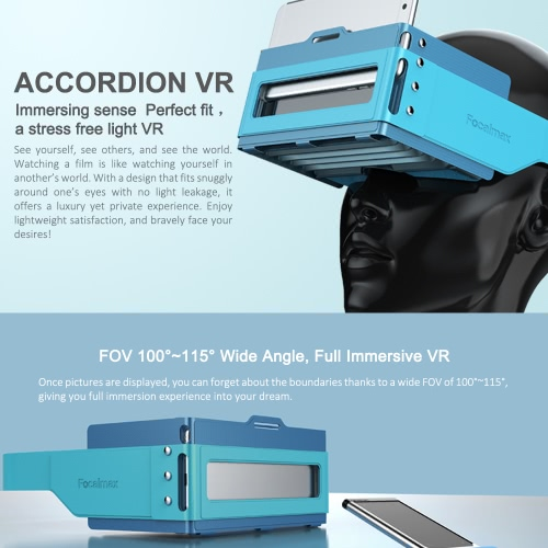 Focalmax Accordion Virtual Reality Glasses 3D VR Box Light Food-grade Silicone Brand Headset Glasses 3D Movies Games Fresnel Lens Universal for Android iOS Smart Phones within 4.5 to 6.0 Inches Blue