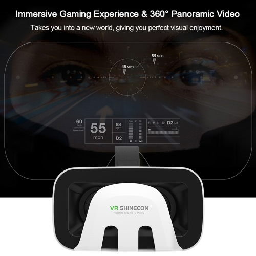 VR SHINECON SC-3GB Virtual Reality Glasses 3D VR Box Glasses Headset for Android iOS Windows Smart Phones with 4.7-6.0''Inches