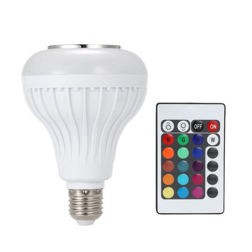 Buy TS-D02 Wireless Bluetooth Music LED Bulb Audio Speaker 6W E27 RGBW Playing Light Lamp 24 Keys IR Remote Control