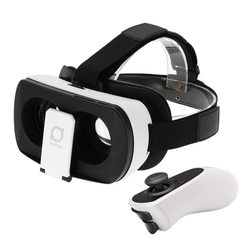 DeePoon V3 Virtual Reality Glasses Headset Head-Mounted 3D VR Glasses 3D Movie Game w/ Bluetooth 3.0 Gamepad Universal for iPhone Samsung / All 4.7 to 5.7 Inches Android iOS Smart Phones V1994
