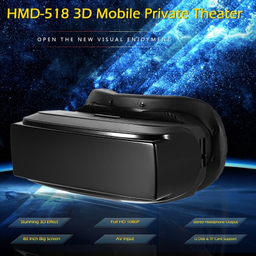 HMD-518 3D Mobile Private Theater 80 Inch Virtual Wide Screen Portable 3D Video Glasses Support U Disk TF Card AV Input Intelligent Media Player Black V2074