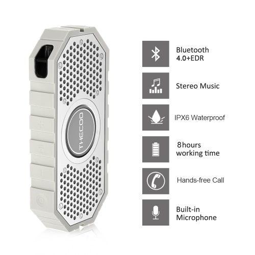 THECOO 710K Stereo Bluetooth Speaker Dual Acoustic Driver Waterproof Shockproof Dustproof Loudspeaker Subwoofer Hands-free w/ Mic Aux TF Card Playing for Outdoor or Shower Use V2329