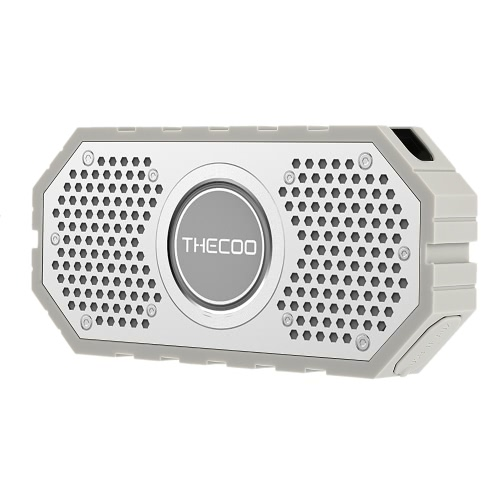 THECOO 710K Stereo Bluetooth Speaker Dual Acoustic Driver Waterproof Shockproof Dustproof Loudspeaker Subwoofer Hands-free w/ Mic Aux TF Card Playing for Outdoor or Shower Use