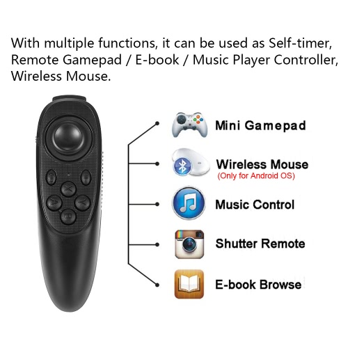 Portable Bluetooth 3.0 Gamepad VR BOX Remote Controller Selfie Shutter Wireless Mouse for 3D VR Glasses Music Player iPhone iPad Black V2459