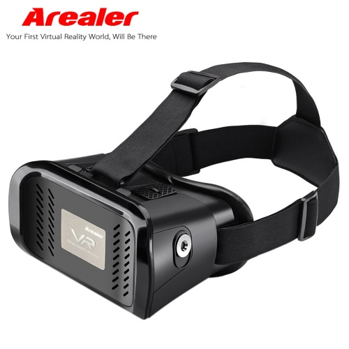 "Arealer VR Virtual Reality Glasses Headset 3D Glasses DIY 3D Movie Game Glasses w/ Magnetic Switch  Head-Mounted Headband for iPhone Samsung / All 3.5 ~ 6.0"""" Smart Phones"" V2045B"