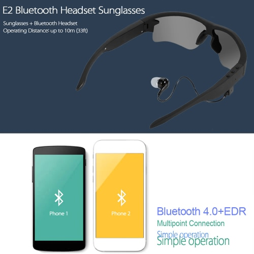 E2 Smart Sunglasses Wireless Bluetooth Stereo Headset Polarized Glasses Solar & Luminous Replaceable Lens Music Headphone Hands-free w/ Mic Self-timer Black for iPhone Samsung LG Android iOS Smart Phones
