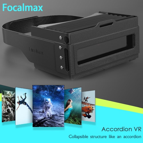 Focalmax Accordion Virtual Reality Glasses 3D VR Box Light Food-grade Silicone Brand Headset Glasses 3D Movies Games Fresnel Lens Universal for Android iOS Smart Phones within 4.5 to 6.0 Inches Black